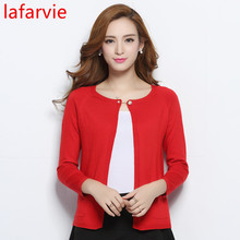 Lafarvie 2017 High Quality Autumn Winter Sweater Women Cardigan Sweater Loose Double Breasted Women's Cashmere Sweater