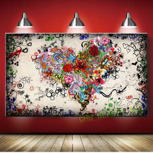 Graffiti Design Abstract  Wall Art  Heart Flowers Canvas Prints Painting Pictures Decor For Living Room Unframed