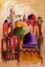 Drawing Modern Abstract Style Building Hang Pictures on the Wall Handmade Fine Art Colorful Russian Mexico Church Oil Paintings