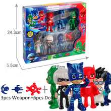 Boys Girls PJ Cartoon Play Toys Peripheral Set With Box Masked Man Pajamas Children's PJ Heros Characters Action Figure Toys(China)