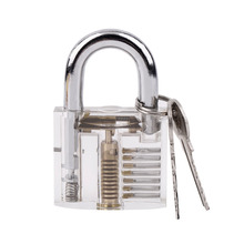 2017 Hot Sale 1Set Transparent Pick Cutaway Visable Inside View Padlock Lock For Locksmith Tools Practice Training Skill(China)