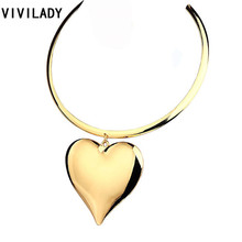 Buy VIVILADY Fashion Larger Heart Pendants Chokers Necklaces Women Gold Color Zinc Alloy Collar African Hot Jewelry Accessory Gifts for $3.67 in AliExpress store