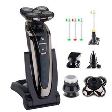 Men's beard shaving machine 5D wet/dry Electric Shaver Rechargeable Electric Razor For Men waterproof+face brush+extra blade(China)
