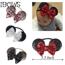 1PC Cute Kids Sequin Bowknot Bows Mickey Mouse Ear Style Hair Band Nylon Headband For Newborn Girls