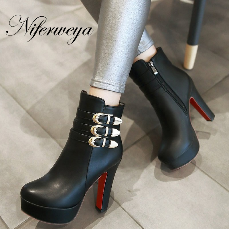2016 Fashion winter women shoes sexy solid PU red platform high heel short boots big size 33-46 Buckle decoration Ankle boots<br>