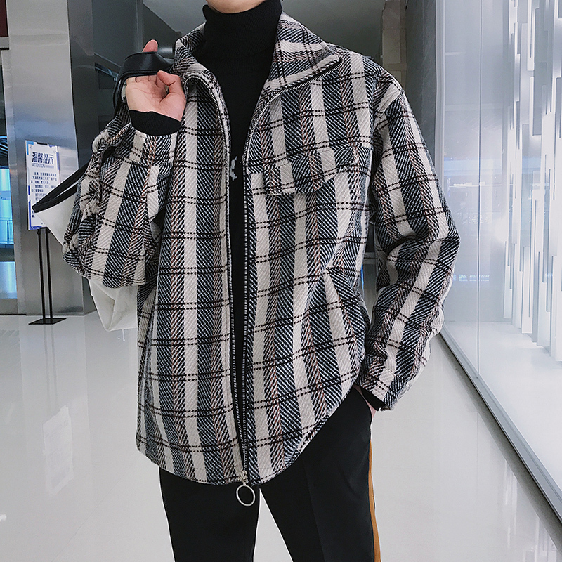Winter New Jacket Men Woolen Fashion Lattice Warm Outwear Loose Coat Man Clothes Streetwear Bomber Jacket Male Outwear M-5XL