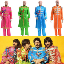 The Beatles Sgt. Pepper's Lonely Hearts Club Band George Harrison Cosplay Costume Satin Jacket Pants Red Orange Blue Green