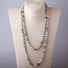 Free Shipping Long Knot Beads Halsband Frosted Amazonite Stones Necklace Handmade Women Beaded Designer Jewelry
