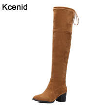 Kcenid big size 33-47 fashion boot woman 2017 spring pointed toe chuncky heel shoes thigh high boots sexy over the knee boots