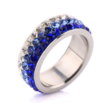 Mix 6/7/8/9# Free Shipping Wholesale Fashion Stainless Steel Crystal Rings Multicolor Crystal Jewelry(China)
