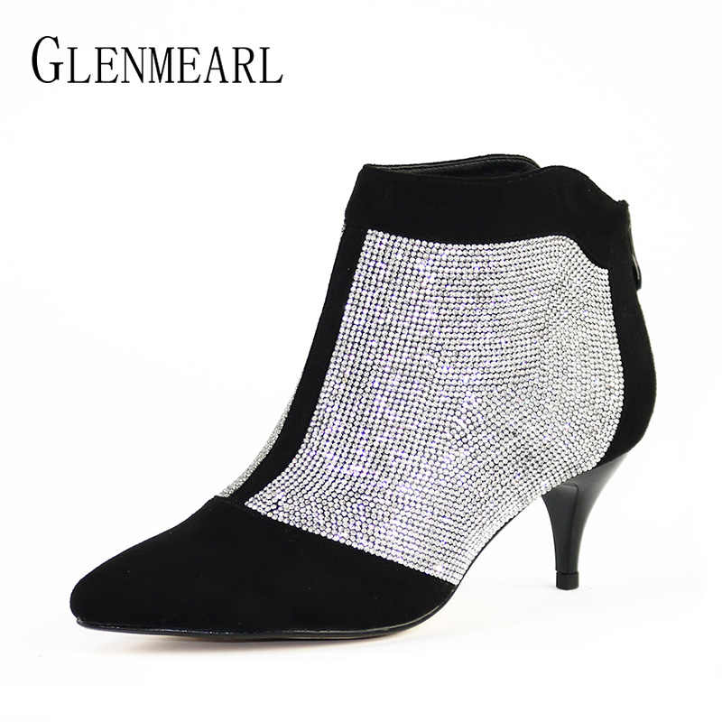 Detail Feedback Questions about Winter Women Shoes Ankle Boots High Heels  Brand Rhinestone Thin Heels Short Boots Woman Large Size Zip Wedding Shoes  Female ... 056ca275b778