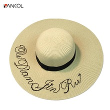 Vancol wide pink embroidery Sun Protection  sombrero Solid Color letter Beach Straw sun cap foldable  fashion Women Summer Hats