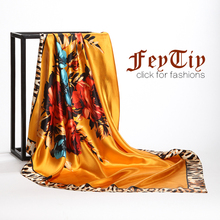 Women's Fashion Hijab Scarfs Silk Satin Flower Print Square Scarf 2017 New Brand Head Beach Shawl Wholesale 90cm*90cm(China)