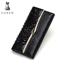 FOXER Brand Fashion Women Genuine Leather wallet & Clutch Bags Ladie's Purse Luxury Wallets For Women