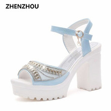 2016 Summer style Women's shoes wedge thick with high heel sandals female platform sequins diamond waterproof platform peep-toe