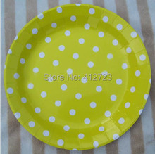 Free shipping 9inch Kid Birthday Decor Paper Plate,Party Supplies,yellow&white polka dots paper round plate,party cake plate