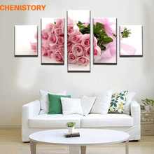Unframed 5 Pieces Pink Rose Floral Modern Decorative Canvas Art Prints Painting Home Wall Decor For Wedding Room Artwork