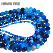 AAA+ Blue Stripe Onyx Agat  Natural Stone Beads For Jewelry Making Diy Bracelet Necklace 4/6/8/10/12 mm Wholesale Strand 15''