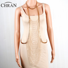 CHRAN Gold Color Women Accessories Gifts Luxury Full Body Chain Lovely Multilayer Mesh Tassels Necklace Sexy Waist Body Chain