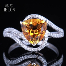 HELON HELON SALE NATRUAL CITRINE PAVE DIAMOND SOLID 14K WHITE GOLD NOBLE ENGAGEMENT WEDDING FINE RING SETTING TRILLION CUT 8X8MM(China)