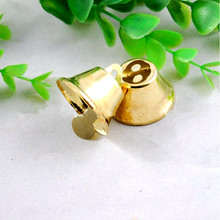 10Pcs/ Creative Gold color metal golden bell horn Christmas tree decoration handmade DIY jewelry pendant fan bell accessories
