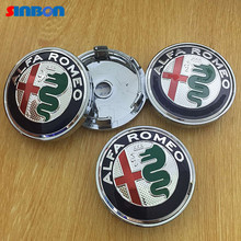 4 pcs 2016 New Style Alfa Romeo 6.0 cm 60mm color wheel drive car styling center hub protection and proof wheel Emblem Badge cov