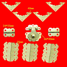 Chinese Metal Lock Set For Wooden Box,Vase Buckle Metal Wooden Box Hasp Latch Lock+Hinge+Bat Corner(China)