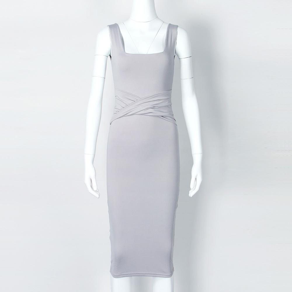 Women Summer Bodycon Dress 2018 Scoop Collar Sleeveless O-neck Sexy Midi Dresses Sheath Clubwear Femme Party Slim Dress GV575 5