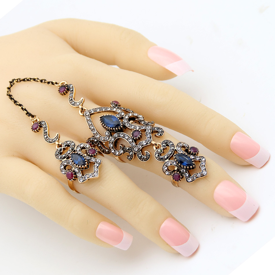 Big Discount Brand Design Turkish Double Finger Rings Women Rhinestone Exquisite Antique Flower Ring Anillos Ajustable Size Gift