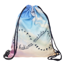 Who Cares 3D Printing Backpack Women Hakuna Matata Infinity Drawstring Bag Fashion Casual Mochila Feminina Girl(China)