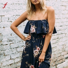 Buy Feitong Summer Long Dress Women Fashion Floral Print Beach Dress Casual Ruffles Slash Neck Shoulder Sexy Dresses for $9.75 in AliExpress store