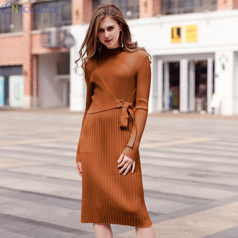 ENbeautter Turtleneck Knitted Sweater Long Dress W...