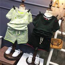 New summer casual boys kid's Graffiti personality t-shirt+ hole shorts 2 pcs clothing set Children's clothing Y2177