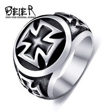 Beier new store 316L Stainless Steel high qualityCool Fashion Iron Cross Ring Man Black Oil Painting jewelry LLBR8-073R(China)