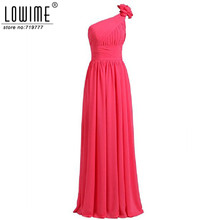 Burgundy Bridesmaid Dresses Long A-Line One Shoulder Prom Dresses Long Elegant Chiffon Wedding Party Dresses Fast Shipping