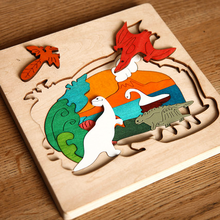 1 Set Children's Creative Multi-layer Wood Dinosaur Dolphin Polar Bear Wolf Cartoon Animals Puzzles Kids Educational Toys Gifts(China)
