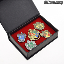 Harry Potter Metal Cosplay Badge Ravenclaw Hogwarts Slytherin Hufflepuff 5pcs/lot Game props Boys and girls Christmas Birthday!