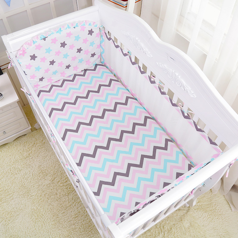 5 pcs Summer Baby Cot Breathable Linens Kit Pink Pricess Style Cotton Baby Bedding Set Include Crib Air Mesh Bumpers Bed Sheet <br>