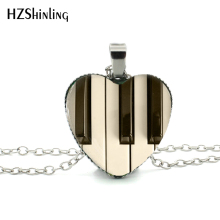 2015 New Hot Glass Dome Jewelry Piano Keyboard Pendant Music Instrument Jewelry Gift for Music Lover Heart Necklace HZ3(China)