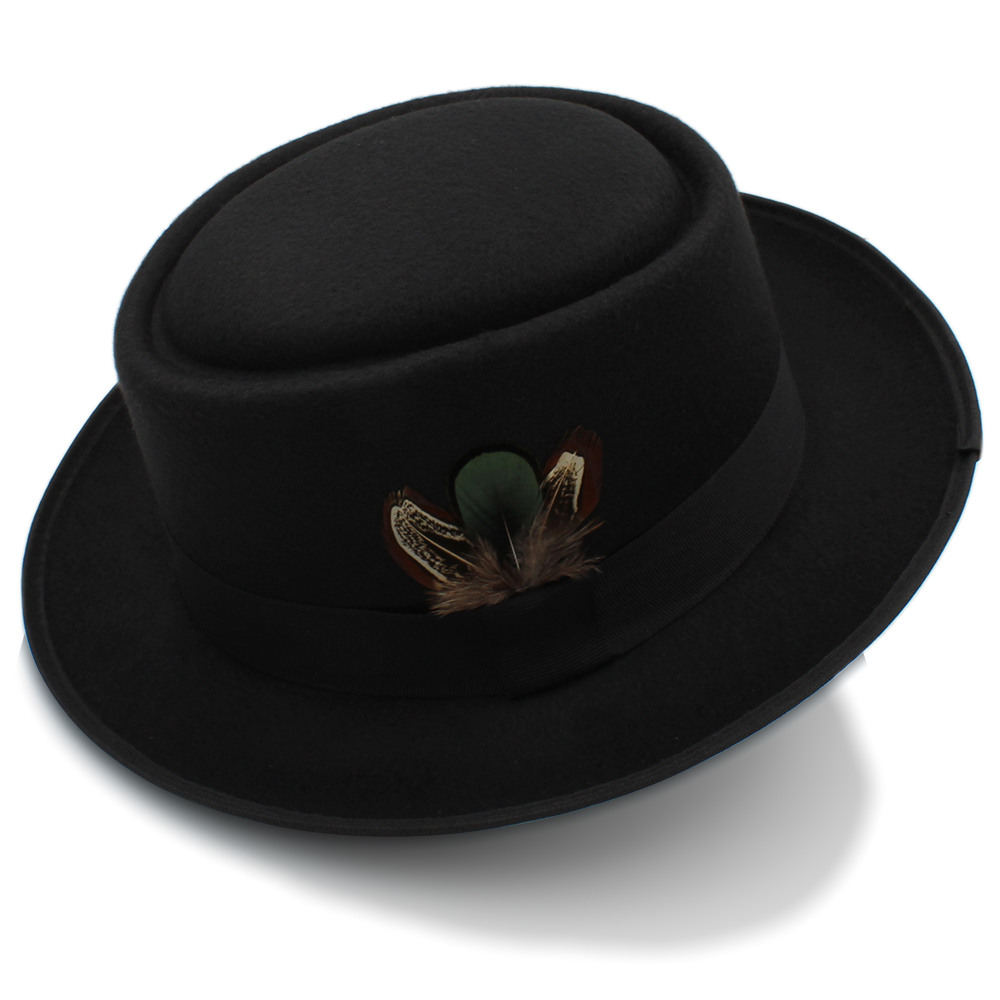 Unisex Pork Pie Trilby Hat Black Faux Leather Breaking Bad Heisenberg Style