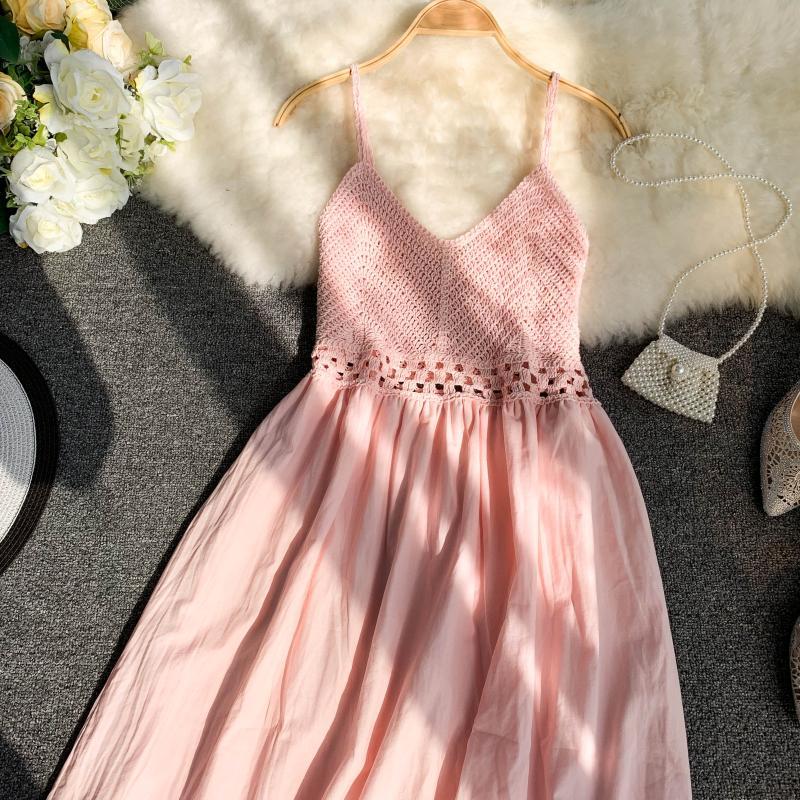 19 new fashion women's dresses Fresh openwork knit stitching V-neck strap high waist dress 17