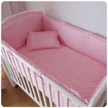 Promotion! 6PCS Pink Newborn Baby Bed Set,Both Safety and Healthy Kids Accessory (bumper+sheet+pillow cover)