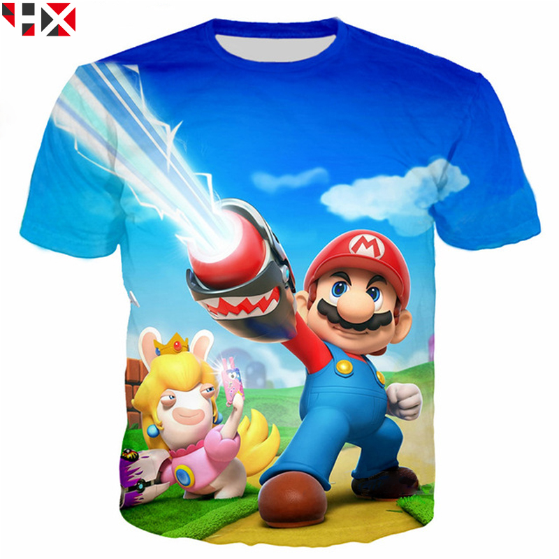 HX Fashion 3D Print T Shirt Funny Classic Cartoon Super Mario T Shirt Unisex Summer Casual Tops H041