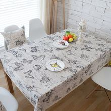 Butterfly Cotton Linen Table Cloth America Country Style Rectangle Coffee Table Cover with Lace Edge manteles para mesa ZB-64(China)