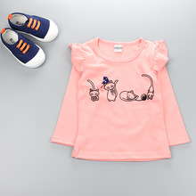 2016 New baby Clothes Girls T shirt  whirt pink girl Top Childrens Tops Autumn Clothes Tee shirts