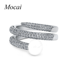 Mocai Brand Unique Design Double Layer Pearl Nail Rings with Micro Zircorn Full Paved Jewelry Women Fashion Crystal Ring ZK42