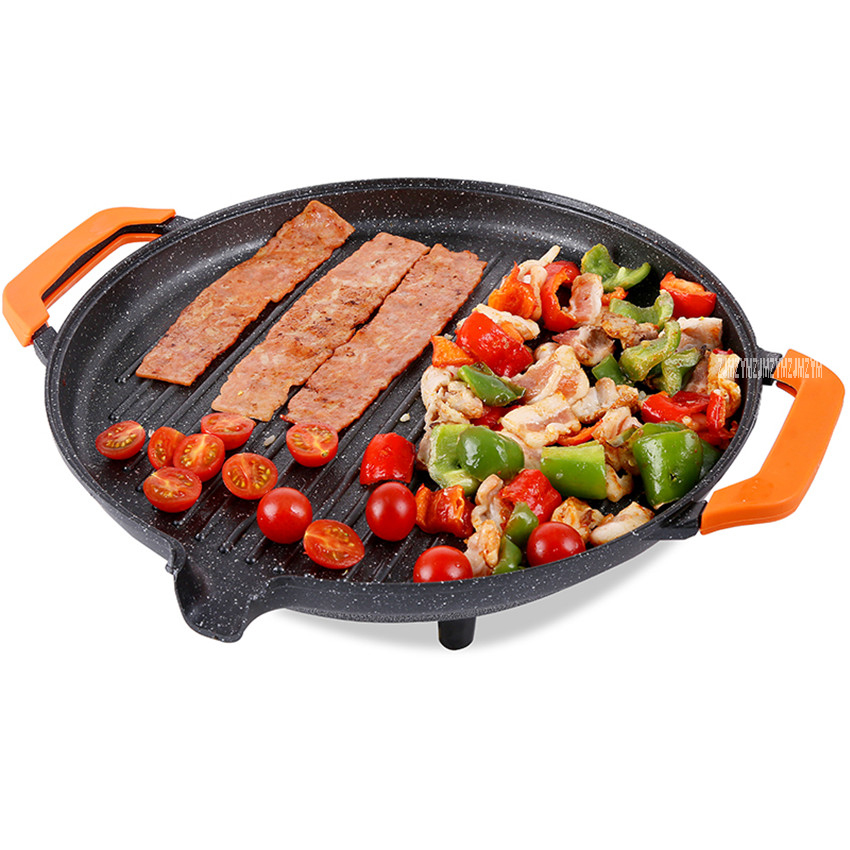 KP153C Multi-function Korean electric grill round buffet barbecue household smoke-free non-stick electric baking pan 220V/1500W<br>