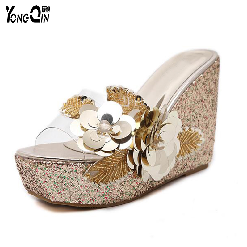 2017 New Summer Transparent Wedge Sandals Sequins Cool Slippers Shoes Female Women Shoes Fashion Leisure Slippers<br>