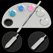 Makeup Artist Palette Cosmetic Stainless Steel Mixing Spatula Palette Makeup Tool Kit Five-hole Shape Set 2016 Top Quality