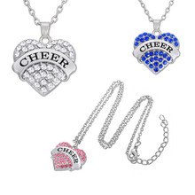 "Minimal Women Accessories Pendant Necklace Crystal Heart Shaped ""CHEER"" Cheerleader Necklace for Women Jewelry as Gifts"